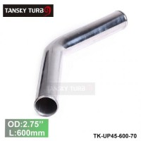 "Tansky 2pcs/unit 70mm 2.75"" 45 Degree Length 600 mm Aluminum Turbo Intercooler Pipe Straight Piping Tube Tubing TK-UP45-600-70"