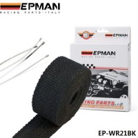 "EPMAN - Black Heat Exhaust Thermal Wrap Tape With Stainless Ties 2""X25"" EP-WR21BK"