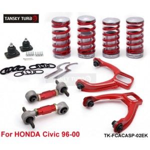Tansky -- Rear Lower Control Arms+ Front Camber Kits+Lowering Coil Springs Red (Fits For Honda Civic) TK-FCACASP-02EK