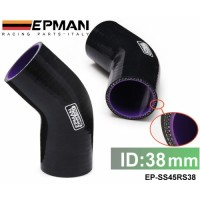 "Tansky - EPMAN 1.5"" 1-1/2"" 38mm 45 Degree Elbow Silicone Hose Pipe Turbo Intake Black EP-SS45RS38"