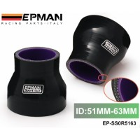 "Epman 2""-2.48"" 51mm-63mm Silicone Straight Reducer Hose Intercooler Silicon Turbo, Black EP-SS0R5163"