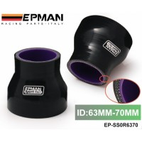 """Epman 2.48""""-2.75"""" 63mm-70mm TURBO INTAKE SILICONE Straight Reducer Hose Pipe Coupler Black EP-SS0R6370"""