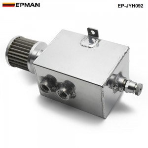 EPMAN 2L Aluminum Universal oil catch can tank with breather & drain tap 2LT baffled EP-JYH092