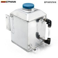 EPMAN Aluminum Square Car Engine Oil Catch Tank Can Reservoir Breather Kit Fuel Surge Tank 1L EPYXFST015