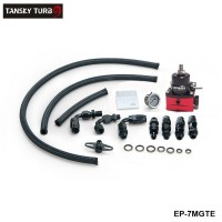 EPMAN -Sport Adjustable Fuel Pressure Regulator Kit W/ Oil Gauge Braided Fuel Hose EP-7MGTE