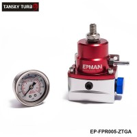 EPMAN- Red-Sliver Injected Bypass Aluminum  Adjustable Fuel Pressure Rulator AN6 W 1/8 NPT Gauge EP-FPR005-ZTGA