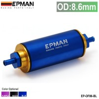 Epman Aluminum Racing Fuel Filter With Steel filter OD:8.6MM Fittings Purple EP-OF86