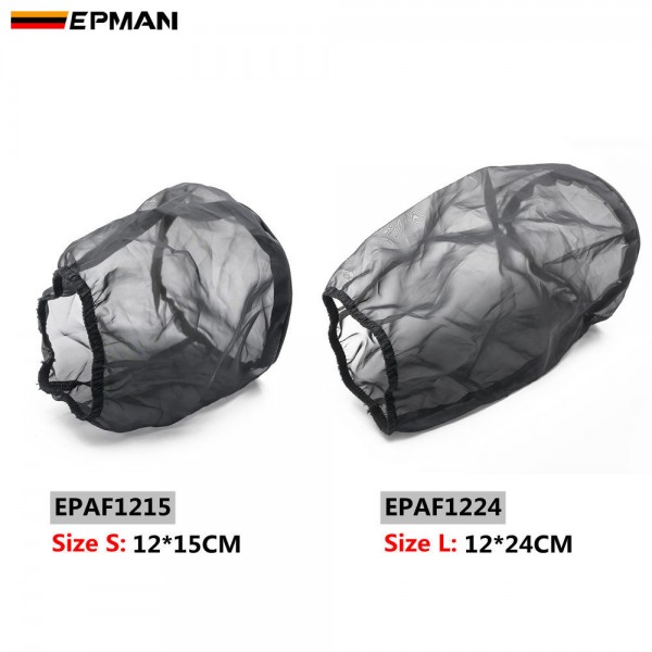 EPMAN Universal Car Cone Air Filter Protective Cover Waterproof Oilproof Dustproof for High Flow Air Intake Filters Black EPAF1215 EPAF1224