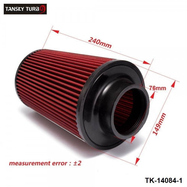 TANSKY - 10SET/CARTON Universal 76mm and 240mm height Cold Air Filter Red Work 76mm Air Intake TK-14084-1