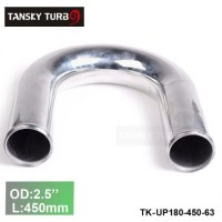 "Tansky 2pcs/unit 63mm 2.5"" 180 Degree Length 450 mm Aluminum Turbo Intercooler Pipe Straight Piping Tube Tubing TK-UP180-450-63"