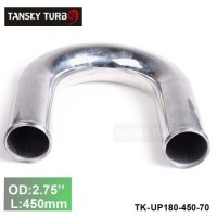 "Tansky 2pcs/unit 70mm 2.75"" 180 Degree Length 450 mm Aluminum Turbo Intercooler Pipe Straight Piping Tube Tubing TK-UP180-450-70"