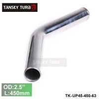 "Tansky 2pcs/unit 63mm 2.5"" 45 Degree Length 450 mm Aluminum Turbo Intercooler Pipe Straight Piping Tube Tubing TK-UP45-450-63"