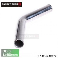 "Tansky 2pcs/unit 76mm 3"" 45 Degree Length 450 mm Aluminum Turbo Intercooler Pipe Straight Piping Tube Tubing TK-UP45-450-76"