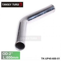 "Tansky 2pcs/unit 51mm 2"" 45 Degree Length 600 mm Aluminum Turbo Intercooler Pipe Straight Piping Tube Tubing TK-UP45-600-51"