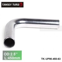 "Tansky 2pcs/unit 63mm 2.5"" 90 Degree Length 450 mm Aluminum Turbo Intercooler Pipe Straight Piping Tube Tubing TK-UP90-450-63"