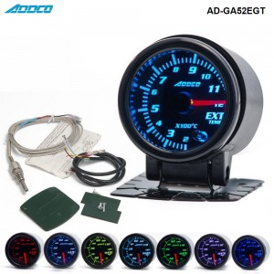 "Car Auto 12V 52mm/2"" 7 Colors Universal Exhaust Gas Temp Gauge Ext Temp Meter EGT With Sensor and Holder  AD-GA52EGT"