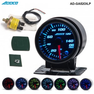 "Car Auto 12V 52mm/2"" 7 Colors Universal Oil Press Gauge Oil Pressure Meter LED With Sensor and Holder AD-GA52OILP"