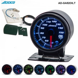 "Car Auto 12V 52mm/2"" 7 Colors Universal Oil Temp Gauge LED With Sensor and Holder AD-GA52OILT"