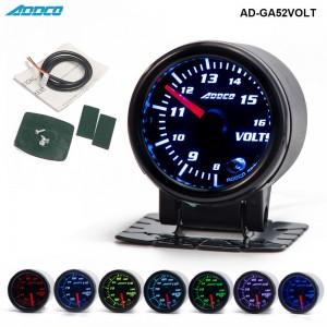 """Car Auto 12V 52mm/2"""" 7 Colors Universal Voltmeter Volt Gauge LED With Holder AD-GA52VOLT"""
