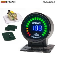 "New ! Epman Racing 2"" 52mm Smoked Digital Color Analog LED Psi/Bar Oil Press Pressure Meter Gauge With Sensor EP-GA50OILP"