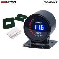 "New ! Epman Racing 2"" 52mm Smoked Digital Color Analog Digital Voltage Volt Meter Gauge with bracket EP-GA50VOLT"