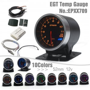 "EPMAN 12V 10 Colors Digital LED Display 2"" 52mm Universal Auto Exhaust Gas Temp Temperature EXT Gauge Car Meter With Sensor And Holder EPXX709"