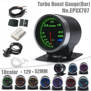 "EPMAN Car Auto 12V 2"" 52mm Universal -1~2 x100kpa Turbo Boost Gauge 10 Colors Digital LED Display Car Meter With Holder EPXX707"
