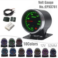 "EPMAN 2"" 52mm Voltmeter Volt Gauge 10 Colors Digital LED Display Universal Car Meter With Holder EPXX701"