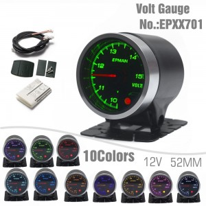 """EPMAN 2"""" 52mm Voltmeter Volt Gauge 10 Colors Digital LED Display Universal Car Meter With Holder EPXX701"""