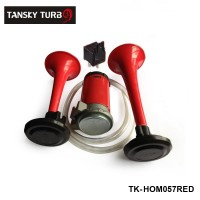 Tansky - 12V RED* TWIN TONE AIR HORNS KIT FOR CAR,BOAT,VAN,TRUCK LOUD HORN/TRUMPET SET TK-HOM057RED