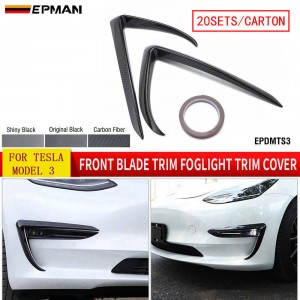 EPMAN 20SETS/CARTON Front Blade Trim Fog Light Eyebrow Cover For Tesla Model 3 Modified Decoration Accessories ABS Car Accessories Model3 2020 EPDMTS3-20T
