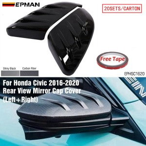 EPMAN - 20SETS/CARTON Car Side Door Rear View Mirror Cover Cap Add-on For Honda For Civic 2016-2020 Car Rearview Mirror Cap Covers EPHSC1620-20T