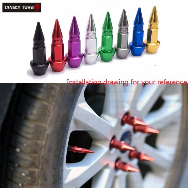 TANSKY -4Pcs/Set Spike Shape Auto Bicycle Tire Valve Cap Valve Stem Caps Wheel Rims Lug Nuts TK-QMZ950