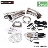 "TANSKY - 3"" Electric Cutout/E-Cut Out Valve System W/O Remote for Exhaust Catback/Downpipe TK-CUTYXMM30"