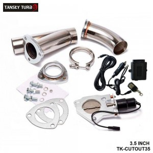 TANSKY - Electric Exhaust DUMPS Cutout Stainless Steel Cutouts 3.5 inch+Piping+Switch TK-CUTOUT35