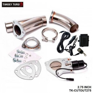 TANSKY -Electric Exhaust DUMPS Cutout Stainless Steel Cutouts 2.75 inch inch+Piping+Switch TK-CUTOUT275