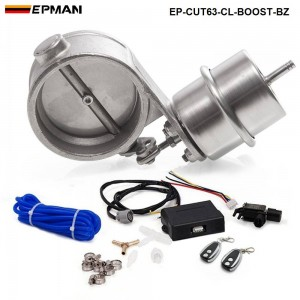 """EPMAN - Exhaust Control Valve With Boost Actuator Cutout 2.5"""" 63mm Pipe CLOSED with Wireless Remote Controller Set EP-CUT63-CL-BOOST-BZ"""