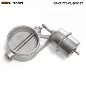 High Quality NEW Boost Activated Exhaust Cutout / Dump 70MM CLOSED Style Pressure: about 1 BAR TK-CUT70-CL-BOOST