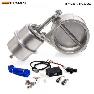 """EPMAN - Exhaust Control Valve Set Cutout 3"""" 76mm Pipe Close Style With Vacuum Actuator with Wireless Remote Controller Set EP-CUT76-CL-DZ"""