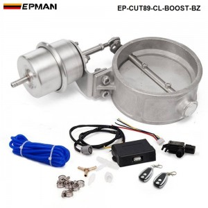 EPMAN - Exhaust Control Valve With Boost Actuator Cutout 89mm Pipe Close with Wireless Remote Controller Set EP-CUT89-CL-BOOST-BZ