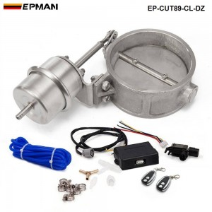 EPMAN - Exhaust Control Valve Set With Vacuum Actuator CUTOUT 89mm Pipe CLOSE STYLE with Wireless Remote Controller EP-CUT89-CL-DZ