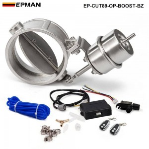 EPMAN - Exhaust Control Valve With Boost Actuator Cutout 89mm Pipe Opend with Wireless Remote Controller Set EP-CUT89-OP-BOOST-BZ