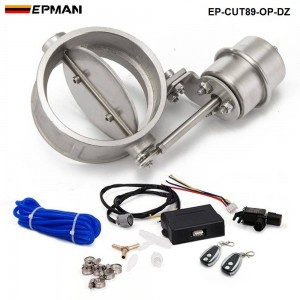 EPMAN - Exhaust Control Valve Set With Vacuum Actuator CUTOUT 89mm Pipe OPEN STYLE with Wireless Remote Controller EP-CUT89-OP-DZ