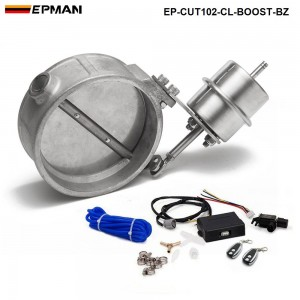 EPMAN - Exhaust Control Valve With Boost Actuator Cutout 102mm Pipe Close with Wireless Remote Controller Set EP-CUT102-CL-BOOST-BZ