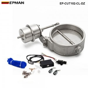 EPMAN - Exhaust Control Valve Set With Vacuum Actuator CUTOUT 102mm Pipe CLOSE STYLE with Wireless Remote Controller EP-CUT102-CL-DZ