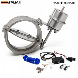 EPMAN - Exhaust Control Valve Set With Vacuum Actuator CUTOUT 102mm Pipe OPEN STYLE with Wireless Remote Controller EP-CUT102-OP-DZ