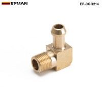 "EPMAN - Brass Boost Hose Barb to Male Thread 45 Degree Elbow Fitting For Garrett T2 T3 Turbo 1/8""Male NPT 90 Degree EP-CGQ214"