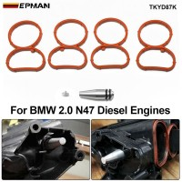 EPMAN Intake Swirl Flap Delete Blank Plug Bung Metal With Manifold Gaskets Removal Repair Kit For BMW N47 TKYD87K