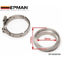 EPMAN GT45 T304 STAINLESS STEEL V-BAND TURBO/TURBOCHARGER DOWNPIPE CLAMP+FLANGE EP-VKGGT45
