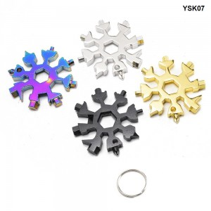 18 In 1 Snowflake Multi Pocket Tool Spanner Hex Wrench Multipurpose Camp Survive Outdoor Multi Tool EDC Keychain Tool YSK07